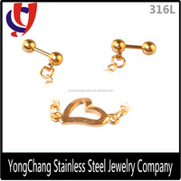 Used barbell chains stud earring heart casting parts earring factory