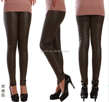 Womens Basic Slim Skinny Leather Stretch Plain Tights Black Light Leggings Pants