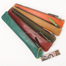 Colorful Leather Pen Holder/ Leather Pen Case Made In India/ Zippered Leather Pen Holder