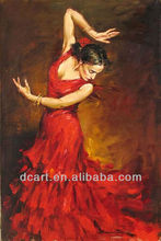 Passional Spain girl dance oil painting