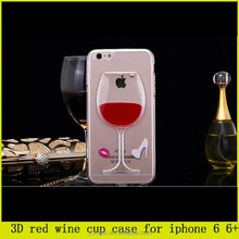 hot sale!Moving Liquid Beer 3D Red Wine Cup Case For iPhone 6, Cocktail Transparent TPU Case For iPhone 6/ 6 Plus