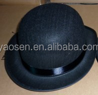 100% polyester black felt bowler hat with black satin ribbon for party ; fashion black derby hat