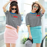 2015 high neck stripe crop tops sexy urban mini dress clothing on sale