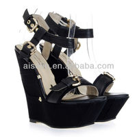 2013 Women high platform plain black wedged designers wedged sandals with no heel good quality with factory price