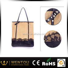 2015 Straw Beach Bag with Lace and Studs