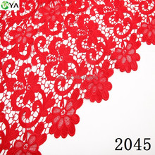 african cupion chemical lace fabric wedding party 2045 red