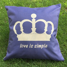 New Throw Pillow Case Linen Simple Royal Crown Love Heart Pattern Cushion Cover