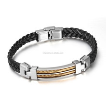 Hot Sell Stainless Steel Weave Mens Two Gold Chain Bracelets Wholesale