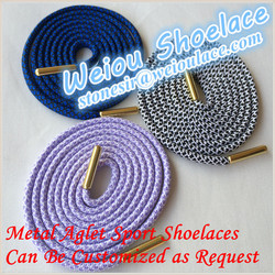 Weiou fashion two toned rope shoelace with metal tips for asics shoes