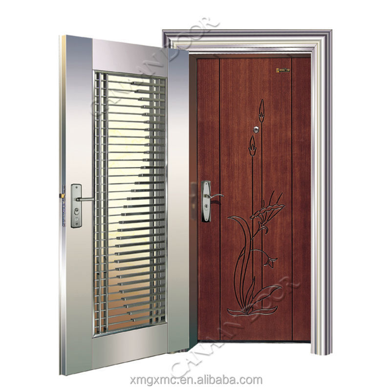 Stainless steel wooden armored main door buy front for Residential main door design