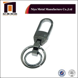 Plated black nickle keyring metal key chian , key ring fob with core rings
