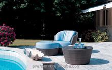 European Fashion Garden Wicker Sofa Sets Outdoor Furniture With Ottoman