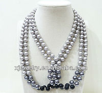 Professional custom and wholesale 8mm silver gray shouth sea shell pearl style necklace