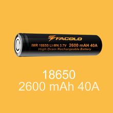 High capacity Facolo 18650 2600mah Li-ion battery 18650 li-ion rechargeable battery for ecig mod wholesale price