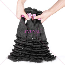 Top quality wholesale double drawn posh curl virgin hair,natural color human virgin fumi hair weaving