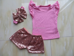 2015 Boutique Wholesale Children Hot Sale Baby Girls Clothes Flutter Sleeve and Sequins Shorts and Bow Headband Outfit