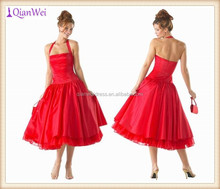 China supplier wholesale price tea length halter fluffy red ball gown short tulle cocktail dresses