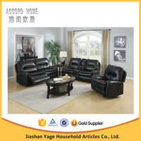 2015 European style leather living room recliner sofa, black sectional sofa