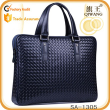 2015 woven leather briefcase with strap fashion blue leather laotop handbag