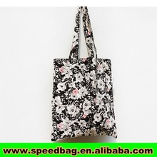 Black tote bag with white flower koreal style high quality school book bag