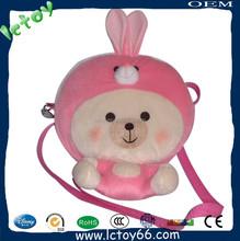Moda traje de conejo rosa muñeca del mono 3D bolsa para las muchachas