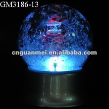 Snowing changing color light glass ball with music box for christmas