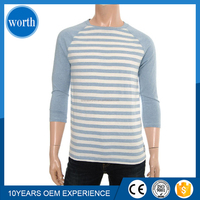 man long sleeve yarn dyed 80% cotton 20% polyester t-shirts