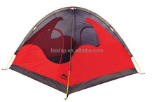 3 person double layer camping tent with fiber glass pole