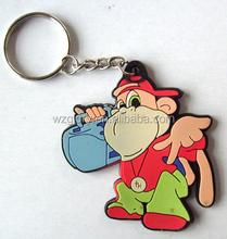 Promotional Fashion 3D Rubber/Soft PVC Cartoon Key Chain For Souvenir