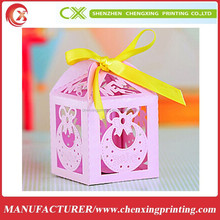 More Colors Bow Laser Cut Favors Box for Baby Shower Gift Box