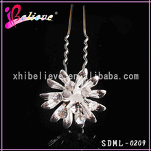 Bling hair jewelry clear rhinestone flower metal cheap hair fork for ladies (SDML-0209)
