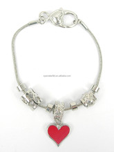 Fashionable metal slipt beads with red enamel heart pendant bracelet , IO closure and brass snake chain, various design
