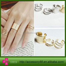 Sunshine jewelry store Shiny Punk Polish Gold Ring, Finger Knuckle Silver Ring,high quality 2 colors Ring set