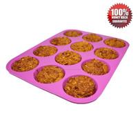 100% FDA & LFGB Approved Food Grade Non-Stick Silicon Muffin Bake Pan