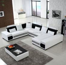 divano di lusso europeo di casa furniure forma u divano ad angolo in pelle