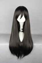 New arrival 70Cm Long black Straight fashion wig hair flat band anime wig