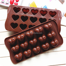 FDA silicone 15cups heart shape silicone chocolate molds chocolate maker Online selling silicone cake molds