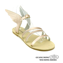 2016 hot selling simple upper deisgn open toe casual flat angle wing sandals