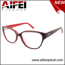 Fashion acetate big frame women optical frame with high quality metal spring hinge