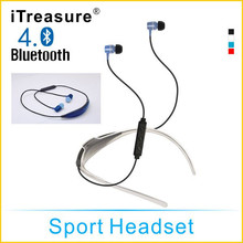 iTreasure Bluetooth Headset HIFI Sport Stereo Earphones with Mic Headphone Multi-point Handsfree for iPhone and Samsung