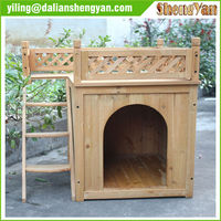 Indoor Wooden Pet House with Balcony & Ladder