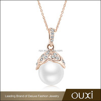 2015 OUXI mother's day gift 18k women's gold necklace made with pearl 11316-1
