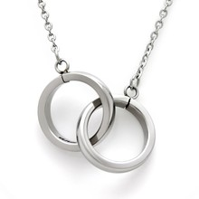 Personalized Named To Infinity And Beyond Stainless Steel Interlocking Double Rings Necklace