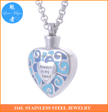 blue painted heart design stainless steel pendant cremation urn of fashion jewelry