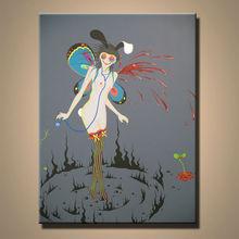 Modern Handmade Freak Cartoon Girl Oil Painting Nude