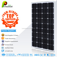 Powerwell China manufacturer Monocrystalline Pv Solar Panel 100w with lowest price