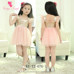 2015 Summer girls party dresses pink gold baby girl dress baby frock designs