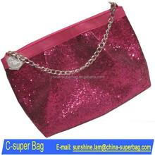 Glitter designer cosmetic bags wristlet