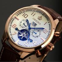 Day Date Display Analog Watch,Leather Wrist Men Automatic Mechanical Watch WM374