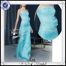 pp0259 de cuentas corpiño de encaje de organza azul vestidos de fiesta para los adolescentes